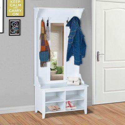 Hallway Furniture Shoe Bench Storage Mirror Coat Rack with 4 Hooks - White