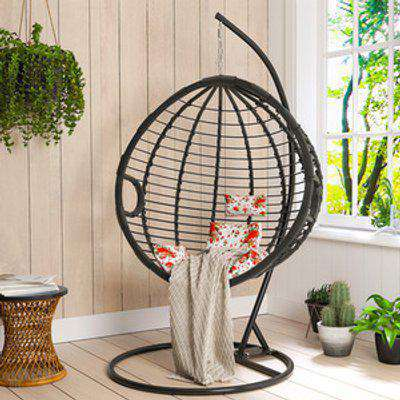 Hanging Egg Swing Rattan Chair with Cushion - Black