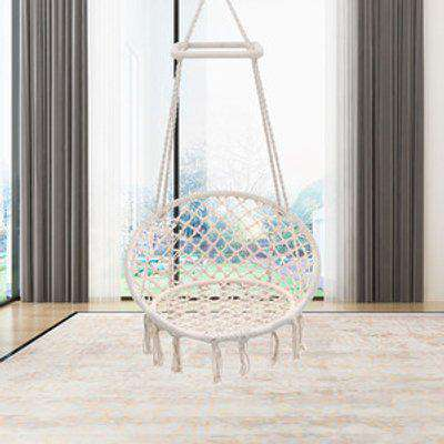 Hanging Hammock Swing Cotton Woven Rope Chair - White / 120cm