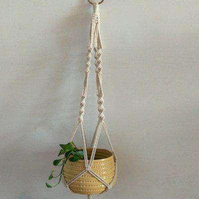 Hanging Planter Basket Woven Rope Pot Holder - Beige / E