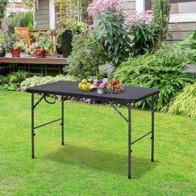 4FT HDPE Folding Picnic Table - Black