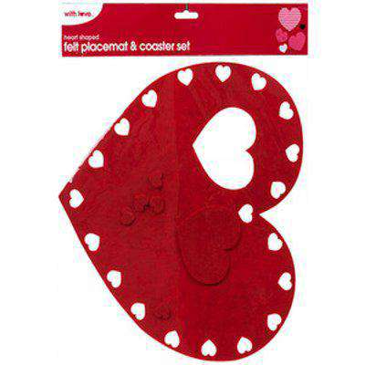 Heart Shaped Felt Placemat and Coaster