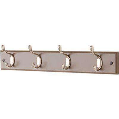 4 Heavy Duty Double Coat Hooks Wall or Door Mountable in Espresso - Brown