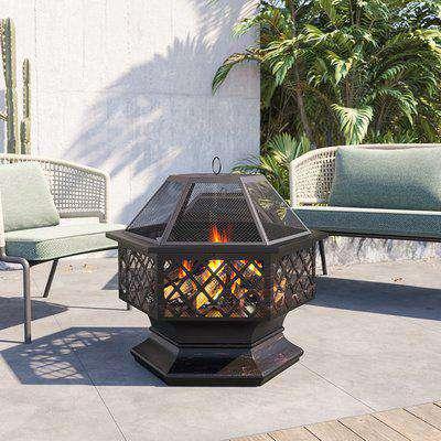 Hexagon Cast Steel Fire Pit  Outdoor Brazier Stove Heater Garden Patio - Black
