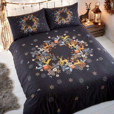 Holly Wreath Single Duvet Set - Black
