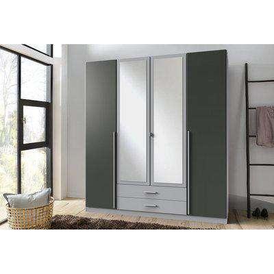 Husum Grey 4 Door Wardrobe - Graphite