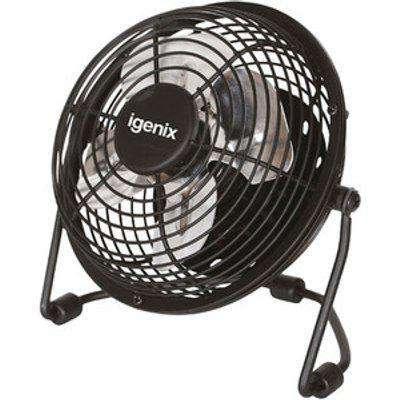 """Igenix 4"""" USB Desk Fan - Black"""