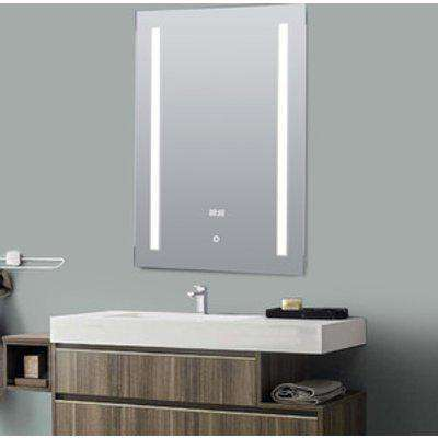 Illuminated Bathroom Mirror Built-In Clock - Silver
