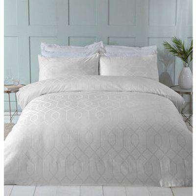 Imani Jacquard Duvet Cover and Pillowcase Set  - White / Double