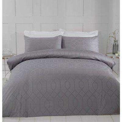 Imani Jacquard Duvet Cover and Pillowcase Set  - Grey / Superking