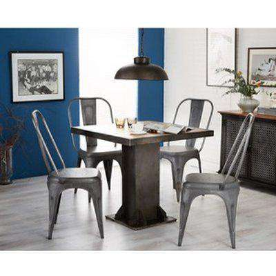 Industrial Furniture Square Dining Table Set with 4 Chairs in Grey - Medium Wood
