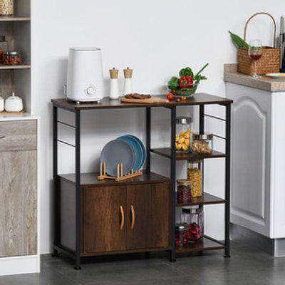 Industrial Storage Shelf With Cabinet & Rack - Black, Rustic Brown