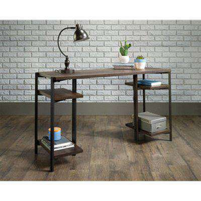 Industrial Style Chunky Bench Desk - Smoked Oak