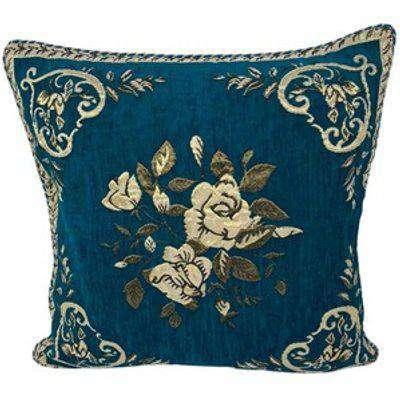 Jacquard Floral Cushion Cover - Teal