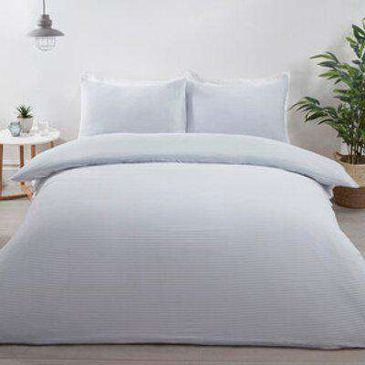 Jersey Textured Stripe Duvet Cover and Pillowcase Set - Grey / King