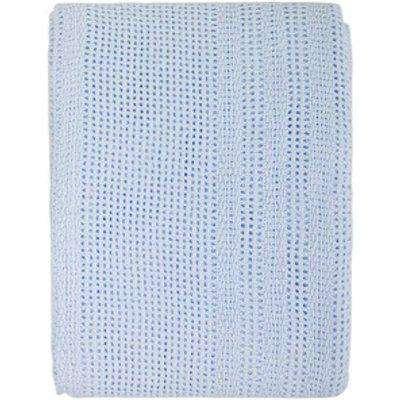 Junior Joy Moses Basket and Pram Cotton Cellular Blanket  - Blue