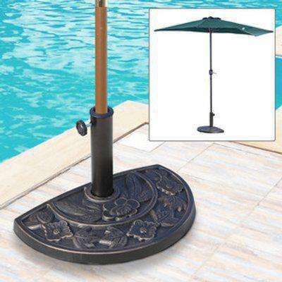 9kg Resin Half Round Parasol Base Umbrella Stand - Black