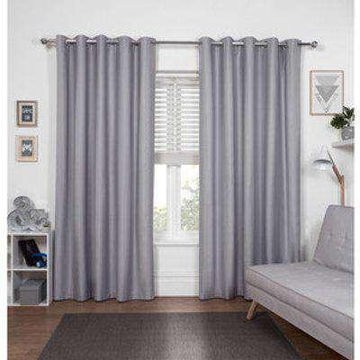 Kids Blackout Eyelet Curtains - Grey / 117cm