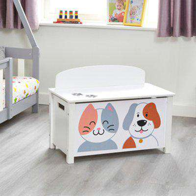 Kids Cat and Dog Big Toy Box - White and Grey