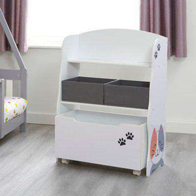 Kids Cat and Dog Storage Unit with Roll Out Toy Box - White and Grey