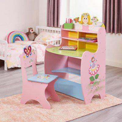 Kids Fairy Learning Desk and Chair Set - Multicoloured