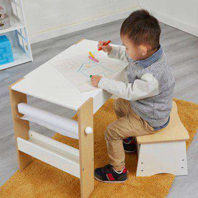 Kids Play Table and Stool Set - White and Pine