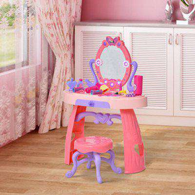 Kids Pretend Play Dressing Set with Table Stool - Pink