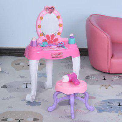 Kids Vanity Table and Chair - Pink