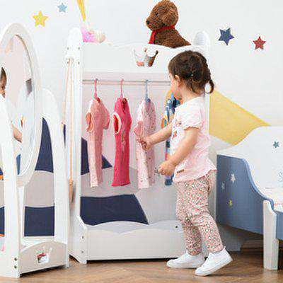 Kids Wood Clothes Rack  - White