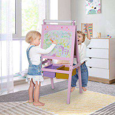 3 In 1 Kids Wooden Art Easel with Storage Baskets - Pink