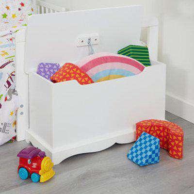 Kids White Wooden Toy Box - White