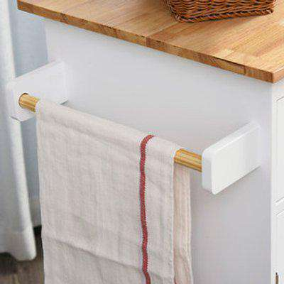 Kitchen Island Rolling Storage Cabinet - White, Nature Wood