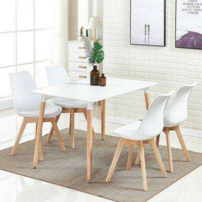 KOSY KOALA Rectangle White Wood Dining Table with 4 Chairs