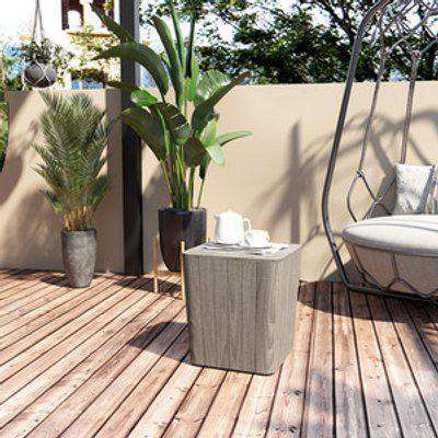50L Wood Effect Outdoor Table Storage - Grey