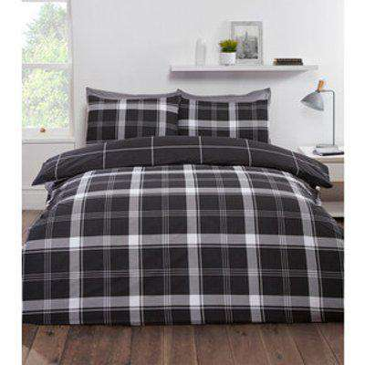Langley Check Duvet Cover and Pillowcase Set - Black / Double