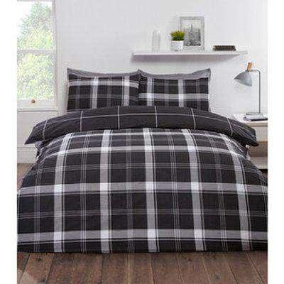 Langley Check Duvet Cover and Pillowcase Set - Black / King