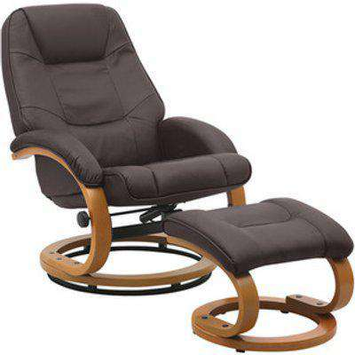 Leather Swivel Office Chair and Stool - Brown