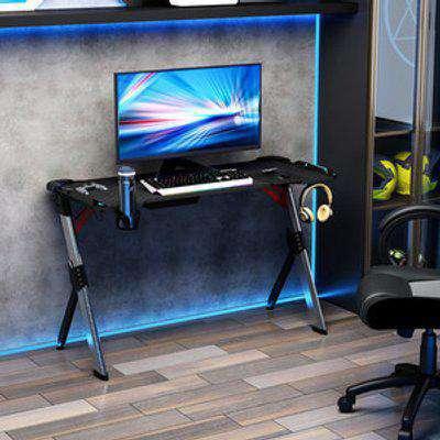 LED Light Steel Frame Gaming Desk - Black