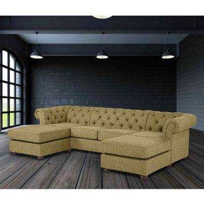 Lenoso Chesterfield U Shape Sofa with 2 Footstools in Plush Velvet Fabric - Bronze
