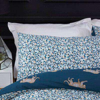 Leopard Motif Duvet and Pillowcase Set - Teal / King