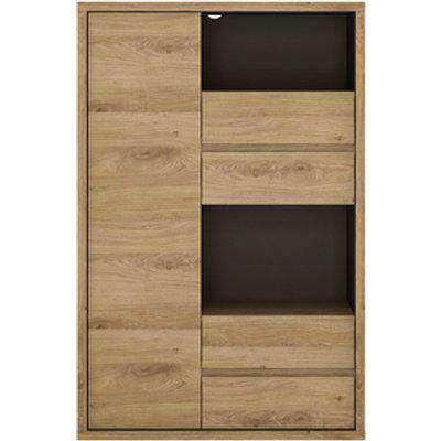 Levenwick One Door Four Drawer Display Cabinet - Shetland Oak