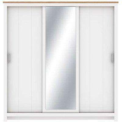 Lexington 3 Door Sliding Wardrobe with Mirror - White