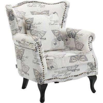Linen Armchair Grey Butterfly - Grey