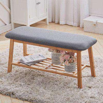 Linen Bamboo Shoe Bench Footstool - Grey
