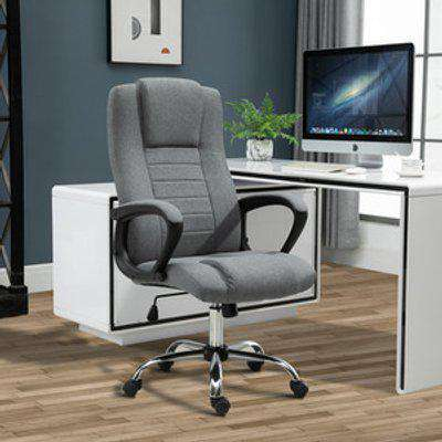 Linen 360 degree Swivel Office Chair  - Dark grey