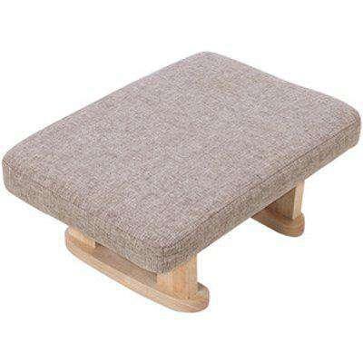 Linen Fabric Upholstered Footstool  - Khaki
