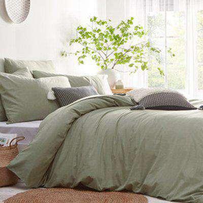 Linen Look Duvet Cover Set - Sage / Single