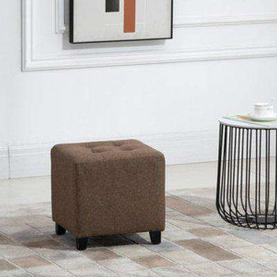 Linen Look Square Ottoman Footstool with Button Tufts - Brown