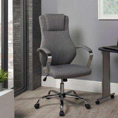 Kroft Grey Linen Office Chair - Grey