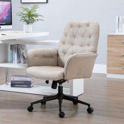 Linen Office Swivel Freely Chair - Light Brown